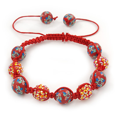 Brick Red Acrylic/Diamante Bead Children/Girls/ Petites Teen Shamballa Bracelet On Red String - Adjustable