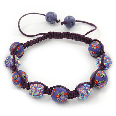 Purple Acrylic/Diamante Bead Children/Girls/ Petites Teen Shamballa Bracelet On Deep Purple String - Adjustable