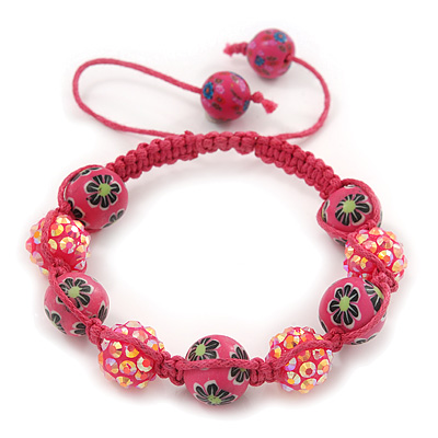 Deep Pink Acrylic/Diamante Bead Children/Girls/ Petites Teen Shamballa Bracelet On Pink String - Adjustable