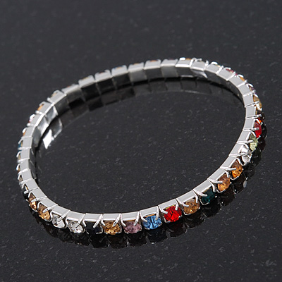 Slim Multicoloured Diamante Flex Bracelet In Silver Plating - 18cm Length