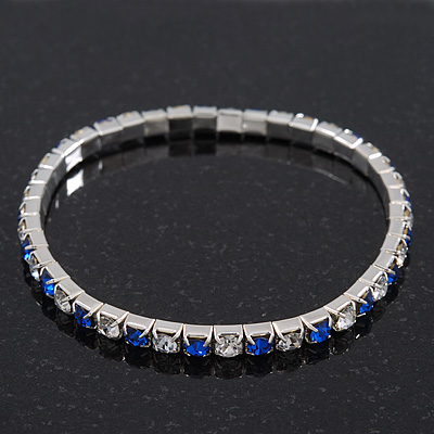 Slim Sapphire Blue/Clear Diamante Flex Bracelet In Silver Plating - 18cm Length
