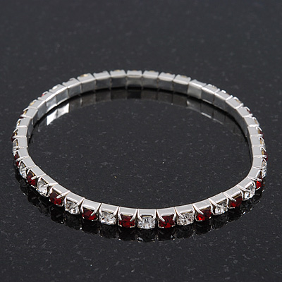 Slim Burgundy Red/Clear Diamante Flex Bracelet In Silver Plating - 18cm Length