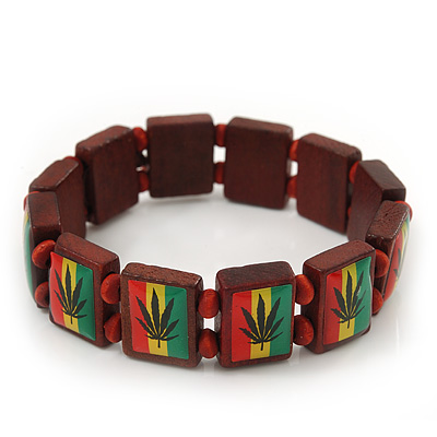 'Hemp Leaf' Brown Wood Bob Marley Style Stretch Bracelet