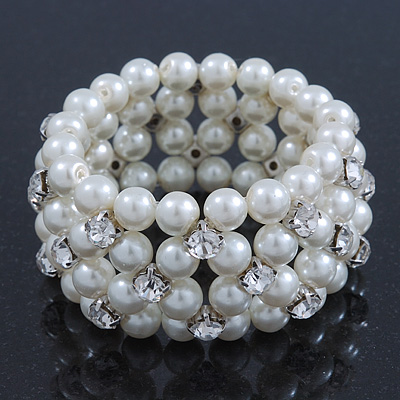 Prom Clear Diamante, White Pearl Flex Bracelet - 18cm Length