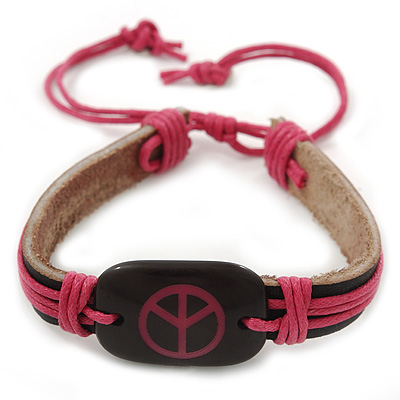 Unisex Black/ Pink Leather 'Peace' Friendship Bracelet - Adjustable