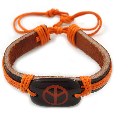 Unisex Dark Brown/ Orange Leather 'Peace' Friendship Bracelet - Adjustable