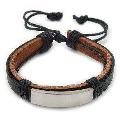 Unisex Black Leather Friendship Bracelet - Adjustable