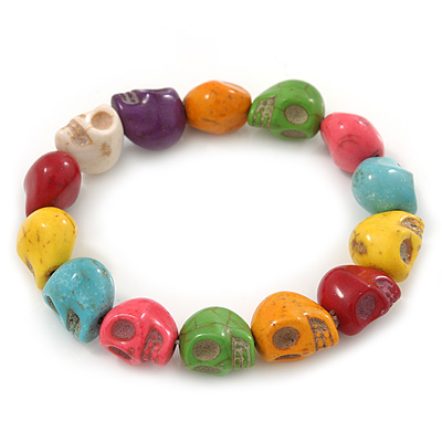 Multicoloured 'Skull' Stone Bead Flex Bracelet - 13mm - up 20cm Length - main view
