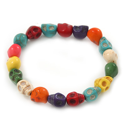 Multicoloured 'Skull' Stone Bead Flex Bracelet - 10mm - up 20cm Length