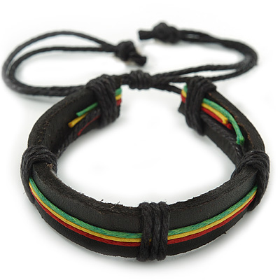 Unisex Red, Yellow, Green &amp; Black Rasta Leather Bob Marley Style Bracelet - Adjustable