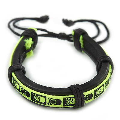 Unisex 'Skull & Crossbones' Neon Yellow Leather Friendship Bracelet - Ajustable