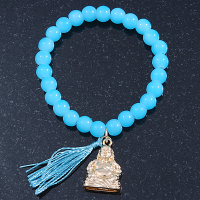 Light Blue Glass Bead Stretch Bracelet with Gold Plated Buddha Charm &amp; Silk Tassel - 6mm - Up to 20cm Length