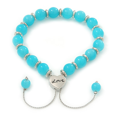 Polished Blue Glass Bead &#039;Love&#039; Bracelet - 6mm - Adjustable
