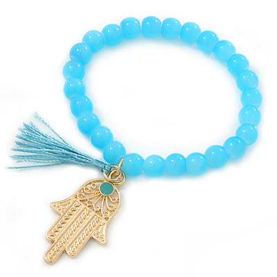 Light Blue Glass Bead Stretch Bracelet with Gold Plated Hamza Hand Charm &amp; Silk Tassel - 6mm - Up to 20cm Length