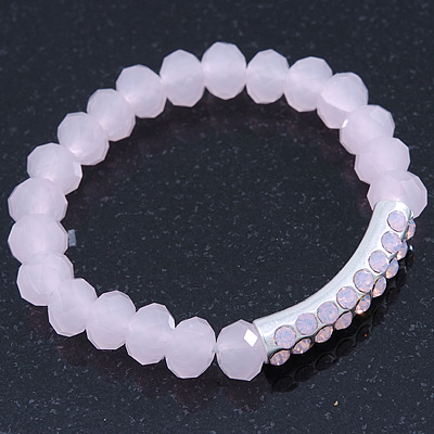 Light Pink Mountain Crystal and Swarovski Elements Stretch Bracelet - Up to 20cm Length