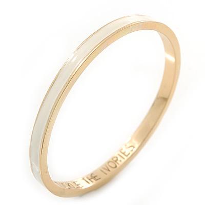 Thin Light Cream Enamel 'TICKLE THE IVORIES' Slip-On Bangle Bracelet In Gold Plating - 18cm Length