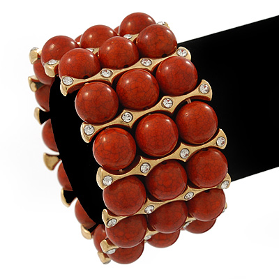 Chunky Coral Bead With Golden Bar Flex Bracelet - Up to 20cm Length