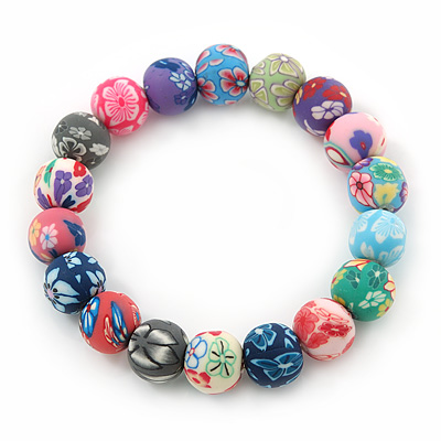 Multicoloured Fimo Bead Flex Bracelet - 19cm Length