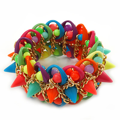 Multicoloured Acrylic Bead, Spike & Chain Flex Bracelet - Up to 19cm length [BR02102]