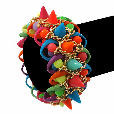 Multicoloured Acrylic Bead, Spike & Chain Flex Bracelet - Up to 19cm length