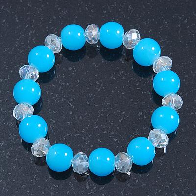 Light Blue/ Transparent Round Glass Bead Stretch Bracelet - up to 18cm Length