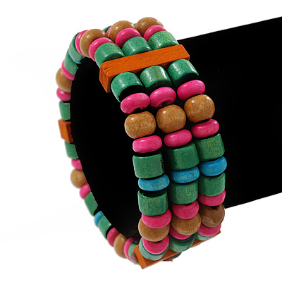 Multicoloured Wood Bead Flex Bracelet - 18cm Length
