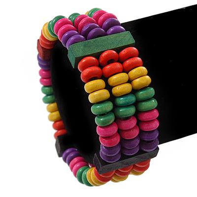 Multicoloured Wood Bead & Bar Flex Bracelet - 18cm Length