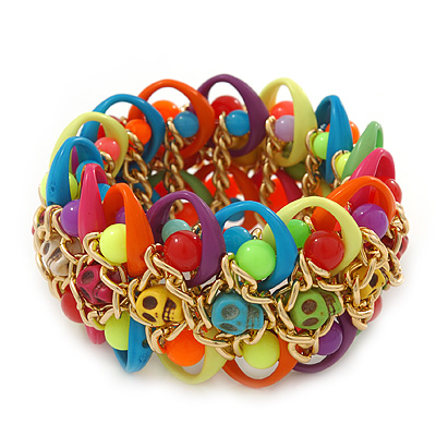 Multicoloured Acrylic Bead, Skull & Chain Flex Bracelet - Up to 19cm length - main view