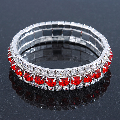 Bright Red/Clear Swarovski Crystal Flex Bracelet (Silver Tone Metal) - 18cm Length