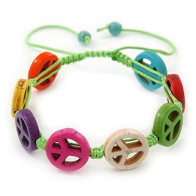 Unisex Multicoloured Plastic 'Peace' Friednship Bracelet On Silk String - Adjustable