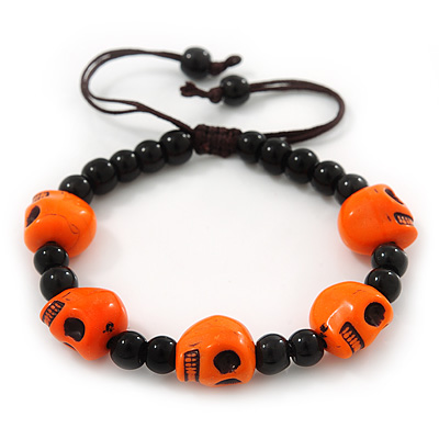Orange Acrylic Skull Bead Children/Girls/ Petites Teen Friendship Bracelet On Black String - (13cm to 16cm) Adjustable - main view