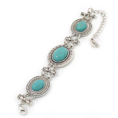 Vintage Turquoise Stone Oval Hammered Bracelet - 18cm Length/ 8cm Extension