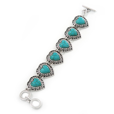 Vintage Inspired 'Hearts' With Turquoise Stones Bracelet With T-Bar Closure In Burn Silver Metal - 18cm Length
