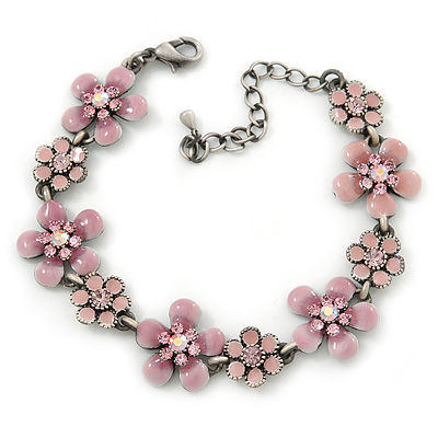 Light Pink Enamel Floral Bracelet In Pewter Tone Metal - 17cm Length/ 6cm Extension