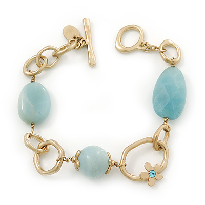 Vintage Inspired Pale Blue Acrylic Bead Hammered Oval Link Bracelet In Gold Plating With T-Bar Closure - 19cm Length