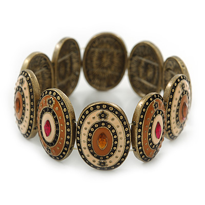 Vintage Inspired Enamel Oval Flex Bracelet In Bronze Tone (Magnolia, Light Brown) - 18cm Length