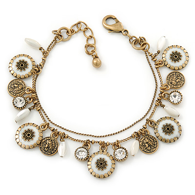 Vintage Inspired Double Chain Charm Bracelet In Antique Gold Metal (White Enamel, Clear Crystal) - 16cm Length/ 3cm Extension