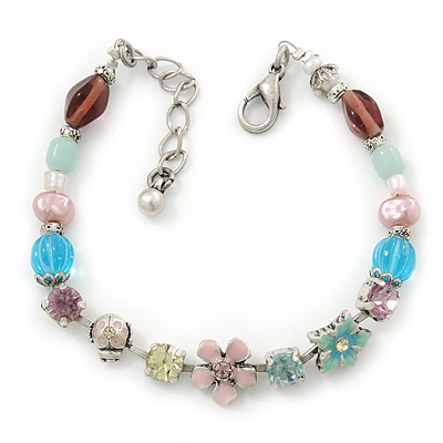 Vintage Inspired Multicoloured Enamel, Crystal Flower, Freshwater Pearl, Glass Bead Bracelet In Silver Tone - 16cm Length/ 4cm Extension