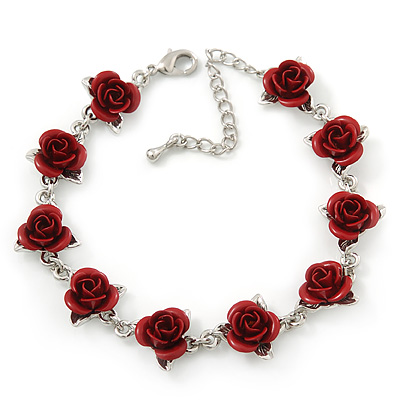 Romantic Red Rose Bracelet In Rhodium Plating - 18cm Length/ 6cm Extension