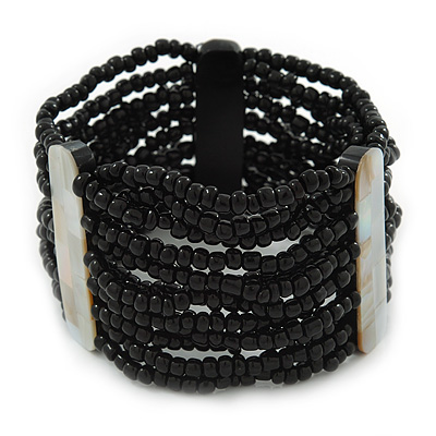 Wide Multistrand Black Glass Beaded Flex Bracelet With Mother Of Pearl Bars - 21cm L