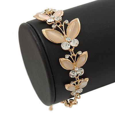 Gold Tone Crystal, Cat's Eye Stone Dragonfly Bracelet - 16cm L/ 4cm Ext
