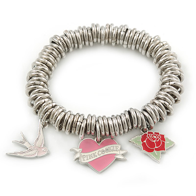 PINK COOKIE IN PURSE Hearts, Rose, Swallow Charm Round Link Flex Bracelet In Rhodium Plating - 17cm L (For Small Wrist)