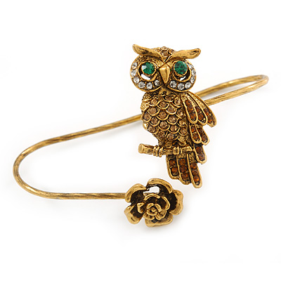 Gold Tone Topaz, Citrine Crystal Owl Palm Bracelet - Up to 19cm L/ Adjustable - main view
