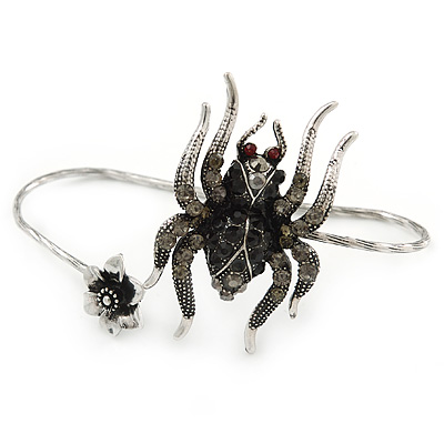 Silver Black, Grey Crystal Spider Palm Bracelet - Up to 19cm L/ Adjustable - main view