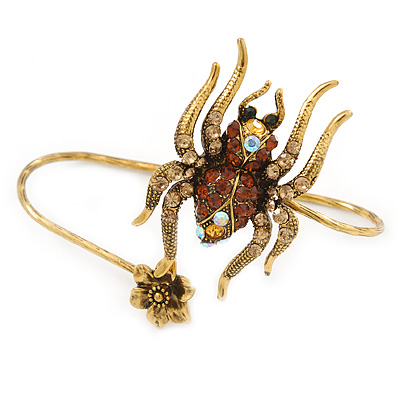 Gold Tone Topaz, Citrine Crystal Spider Palm Bracelet - Up to 19cm L/ Adjustable - main view