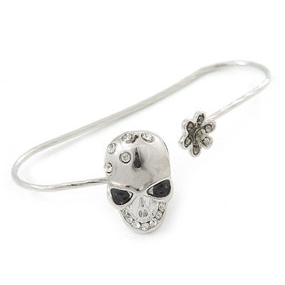 Silver Tone Crystal Skull Palm Bracelet - Up to 19cm L/ Adjustable - main view