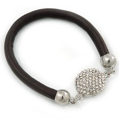 Black Rubber Bracelet With Crystal Button Magnetic Closure In Silver Tone - 17cm L - For small wrist