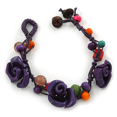 Handmade Purple Leather Rose, Beaded Bracelet with Button and Loop Closure - 17cm L/ 2cm Ext