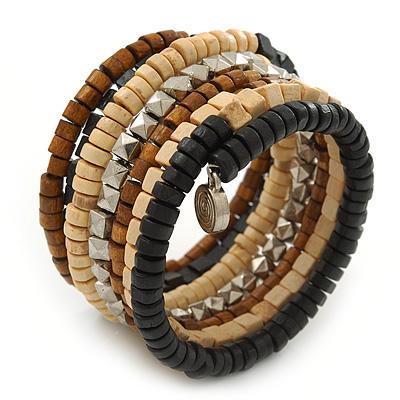 Wide Brown Wooden Bead Coil Flex Bracelet - Adjustable