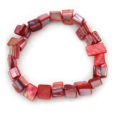 Red Shell Nugget Stretch Bracelet - 17cm L